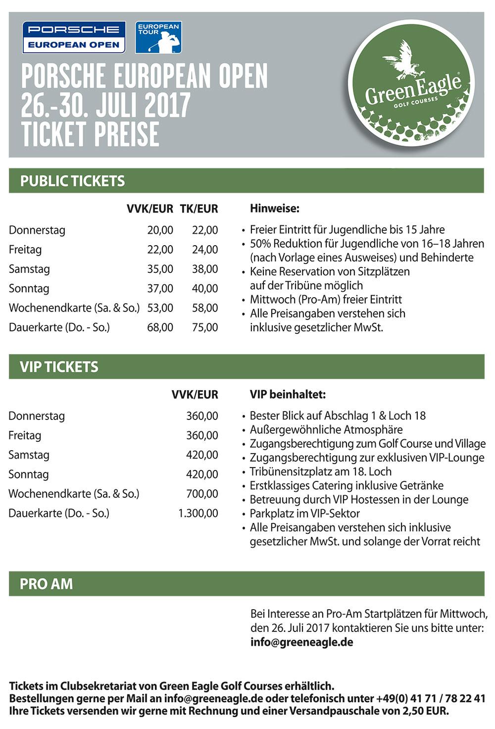 Green Eagle Golf CoursesTickets / Preise - Green Eagle Golf Courses